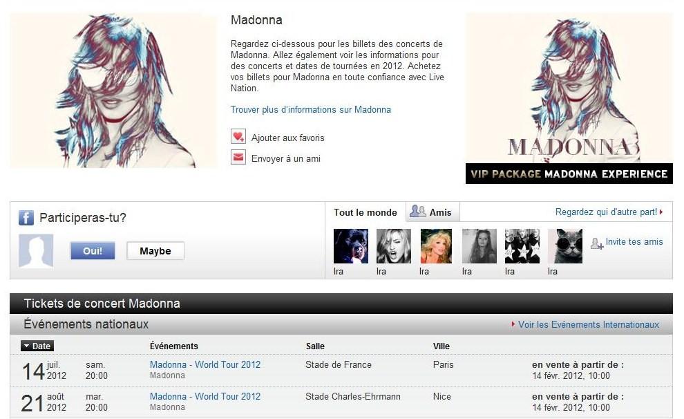 Madonna world tour les points de vente officiels - Les sites de vente en france ...