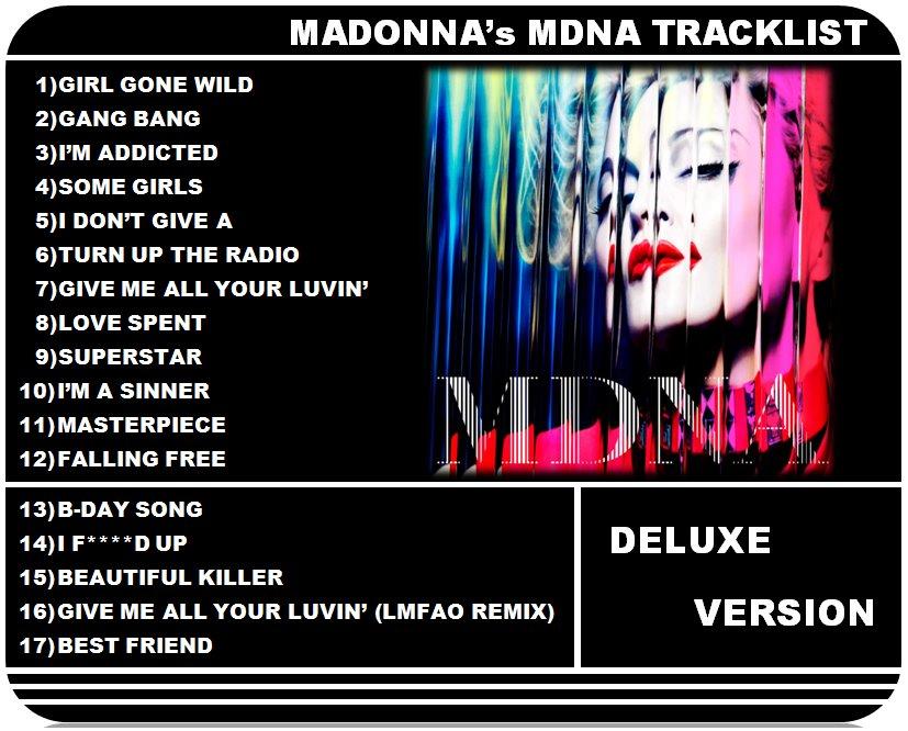 madonna mdna final tracklist MDNA : Nouveau Titre et Détails Sur La Tracklist !