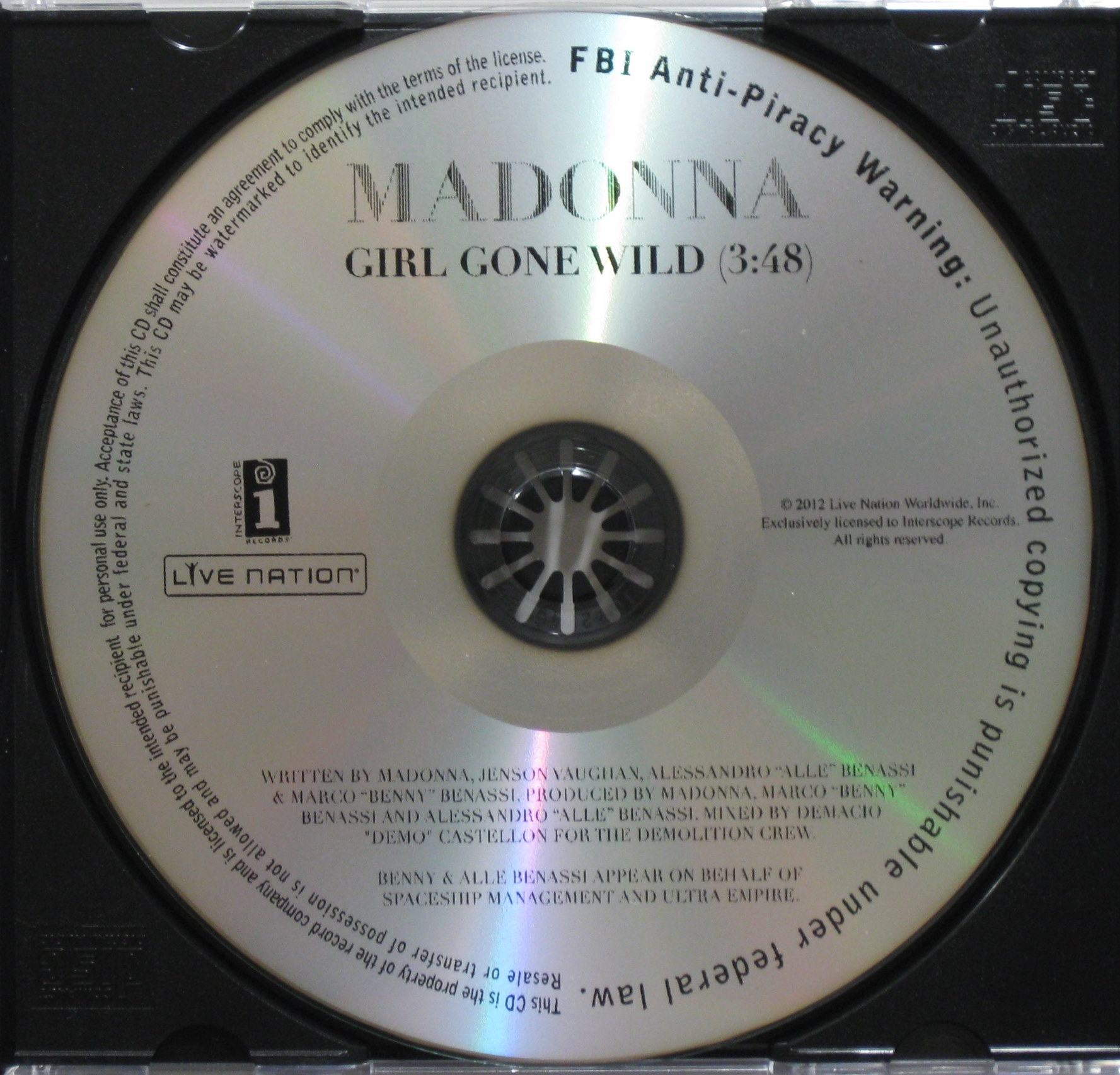 20120316 news madonna girl gone wild us promo cd MDNA #1 Aux Etats Unis & En Bref...