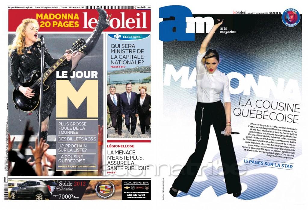Madonna Presse - Le Soleil supplément Arts Magazine (Canada 2012.09.01) cover