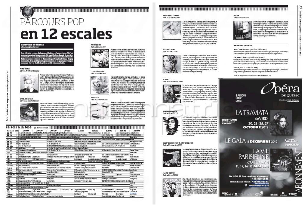 Madonna Presse - Le Soleil supplément Arts Magazine (Canada 2012.09.01) page 3