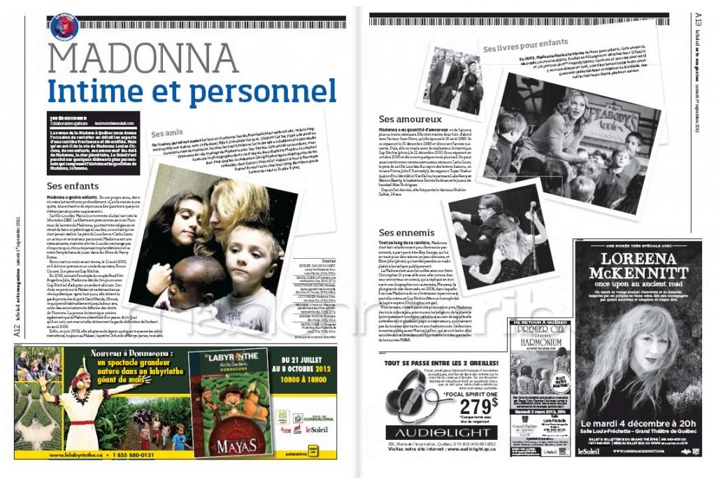 Madonna Presse - Le Soleil supplément Arts Magazine (Canada 2012.09.01) page 5