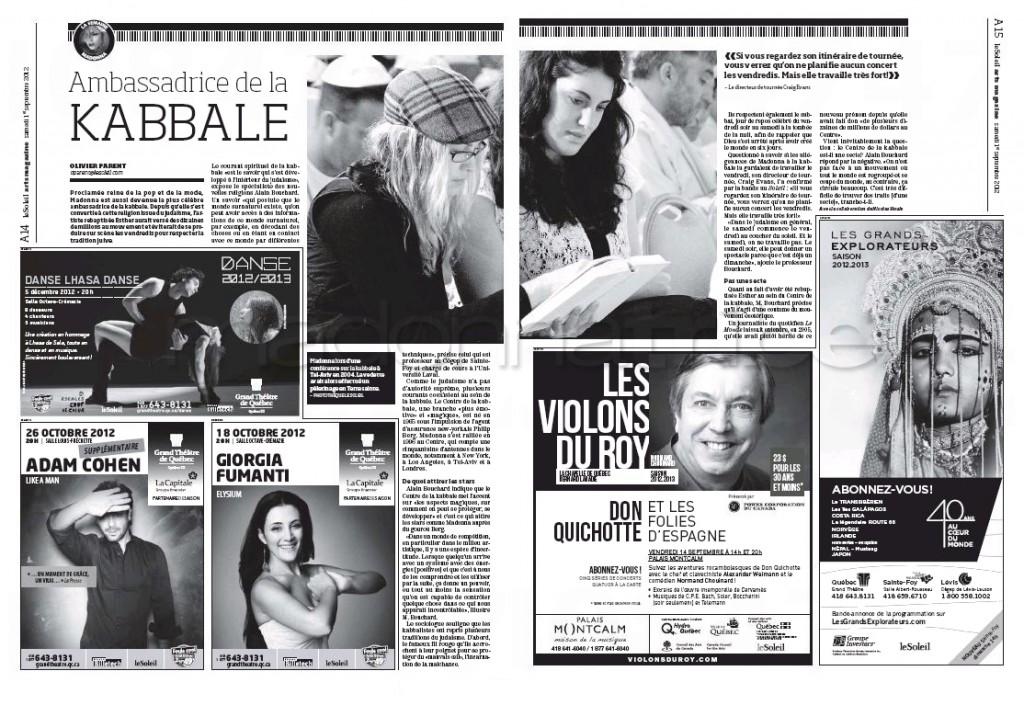 Madonna Presse - Le Soleil supplément Arts Magazine (Canada 2012.09.01) page 6