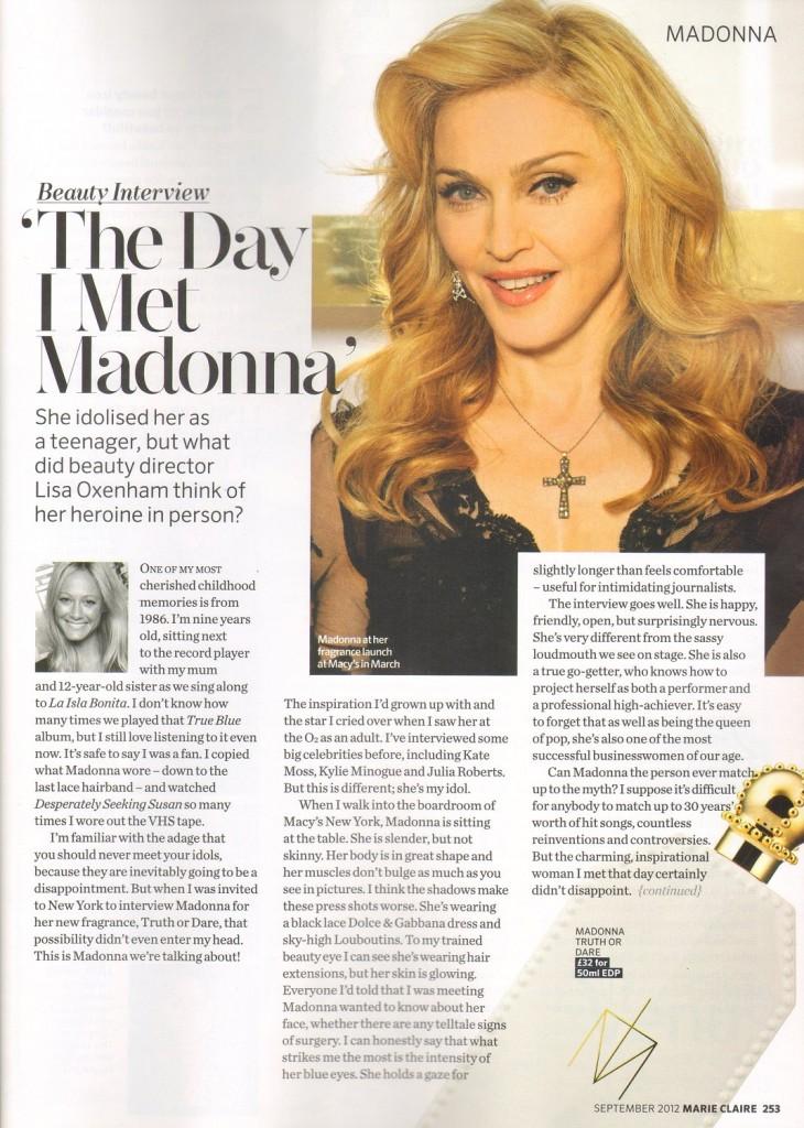 Madonna Presse - Marie Claire (Royaume-Uni 2012.09) page 1