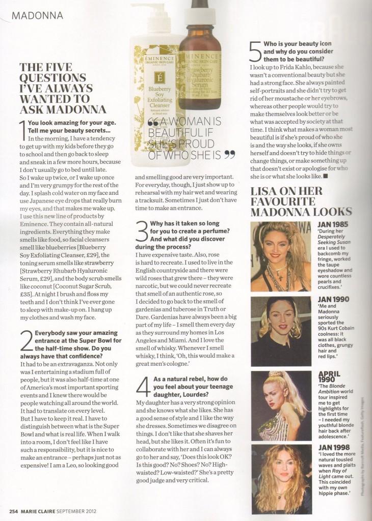 Madonna Presse - Marie Claire (Royaume-Uni 2012.09) page 2